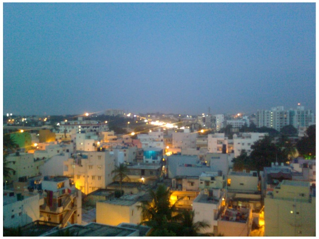 Old Madras Road, Bangalore -- by night -- as seen from RMZ Infinity